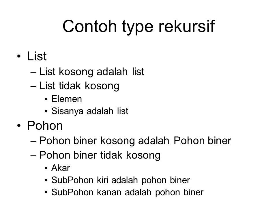 Contoh type rekursif List Pohon List kosong adalah list