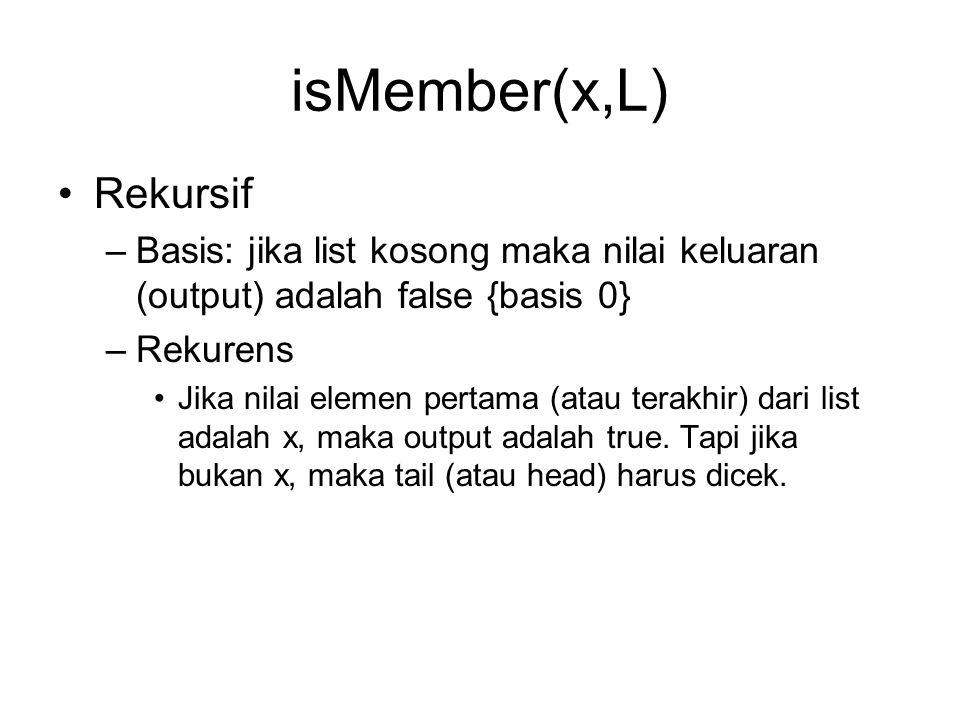 isMember(x,L) Rekursif