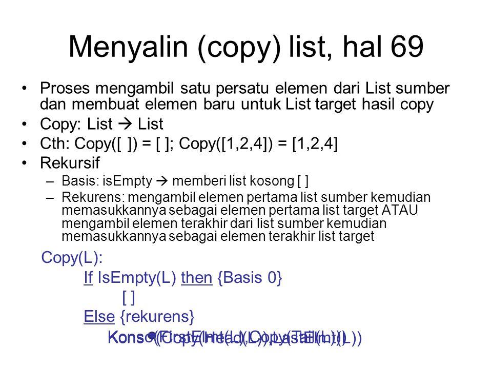 Menyalin (copy) list, hal 69