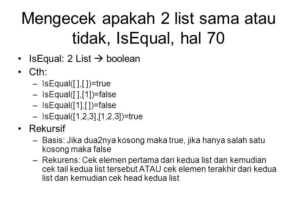 Mengecek apakah 2 list sama atau tidak, IsEqual, hal 70