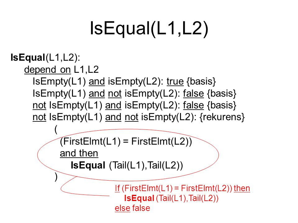 IsEqual(L1,L2) IsEqual(L1,L2): depend on L1,L2