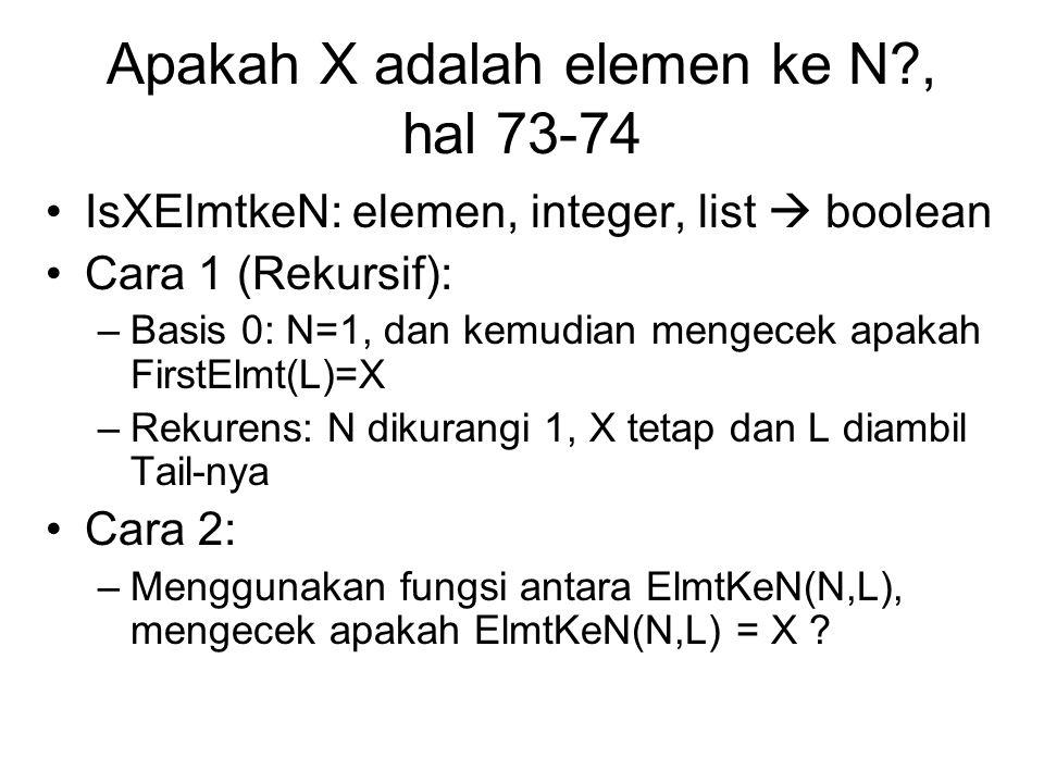 Apakah X adalah elemen ke N , hal 73-74