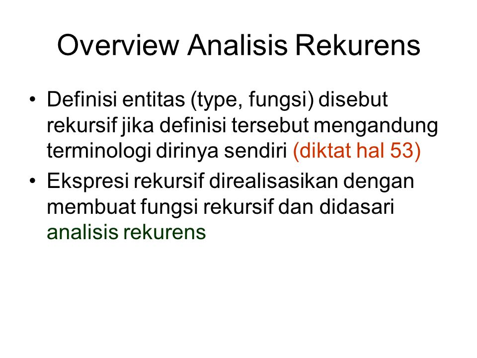 Overview Analisis Rekurens