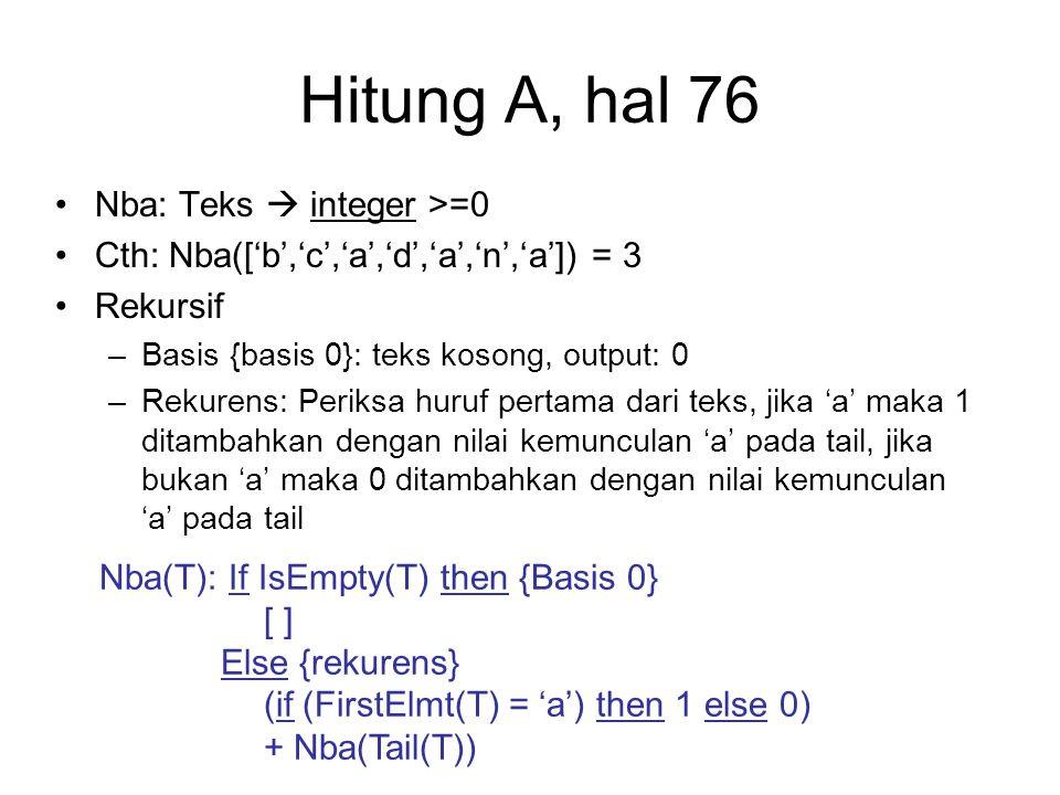 Hitung A, hal 76 Nba: Teks  integer >=0