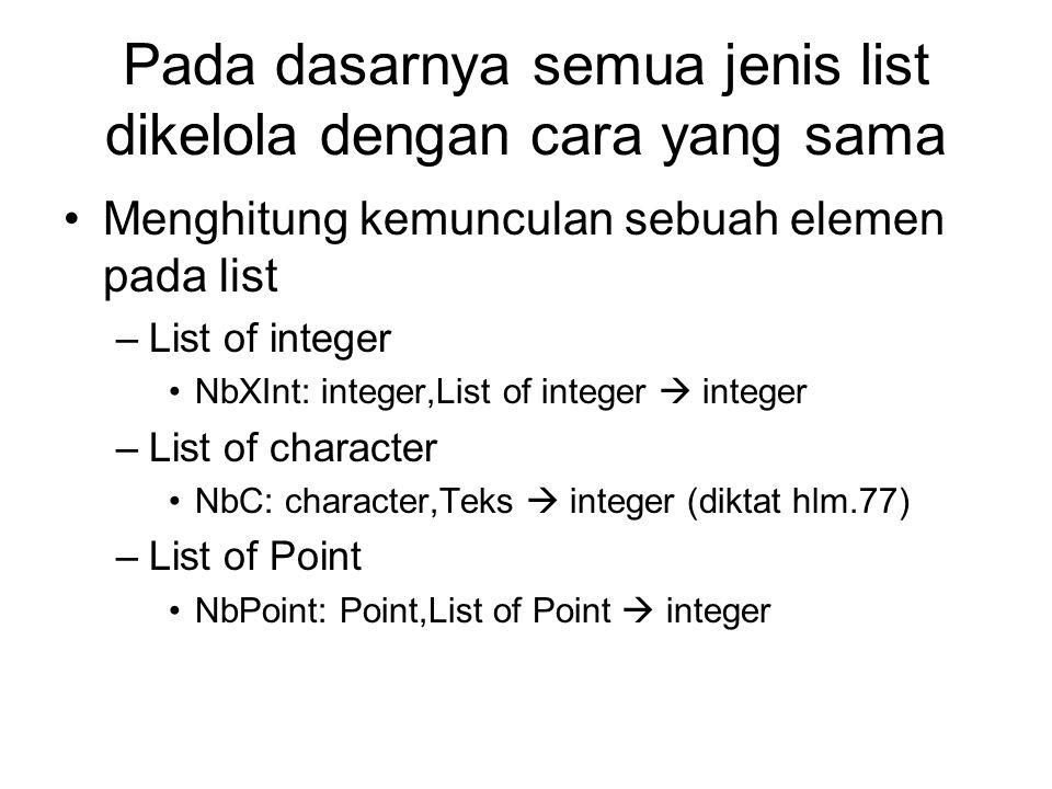 Pada dasarnya semua jenis list dikelola dengan cara yang sama