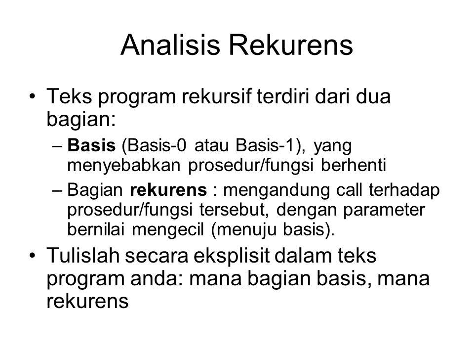 Analisis Rekurens Teks program rekursif terdiri dari dua bagian: