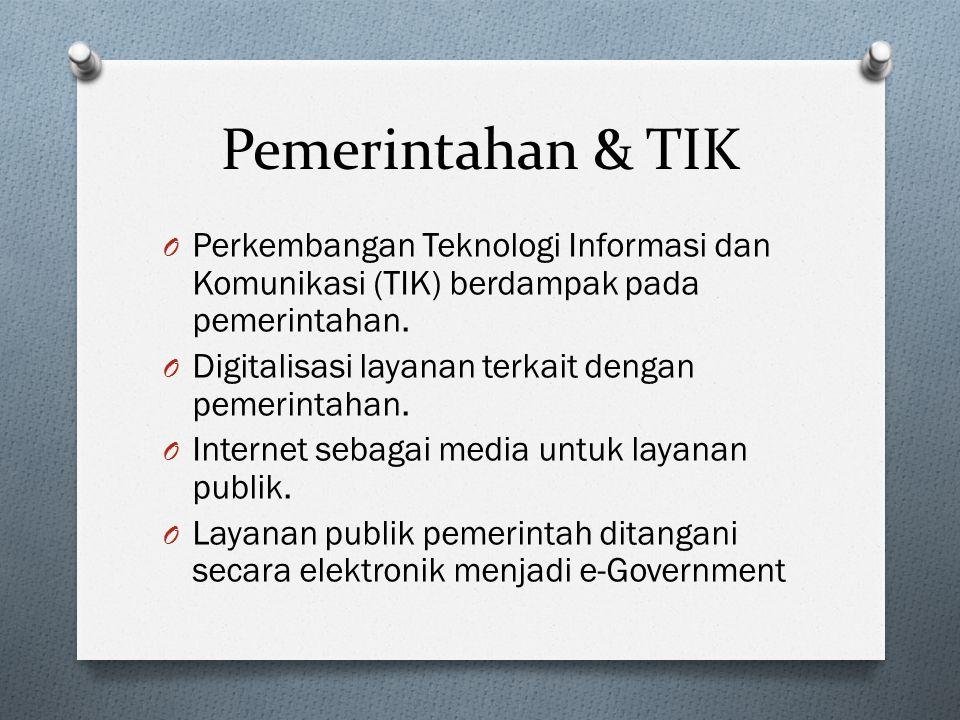 Pemerintahan & TIK Perkembangan Teknologi Informasi dan Komunikasi (TIK) berdampak pada pemerintahan.