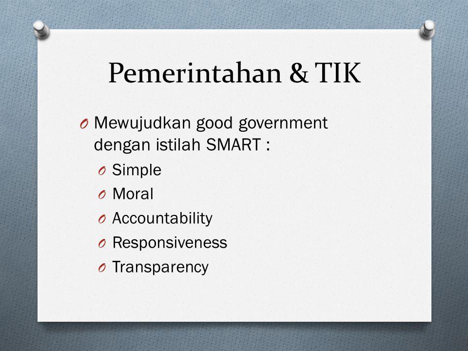 Pemerintahan & TIK Mewujudkan good government dengan istilah SMART :