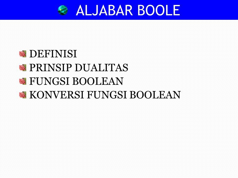 ALJABAR BOOLE DEFINISI PRINSIP DUALITAS FUNGSI BOOLEAN