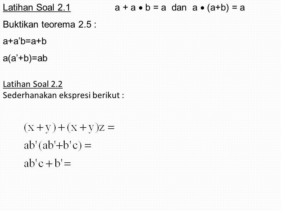 Latihan Soal 2.1 Buktikan teorema 2.5 : a+a'b=a+b. a(a'+b)=ab. a + a  b = a dan a  (a+b) = a.
