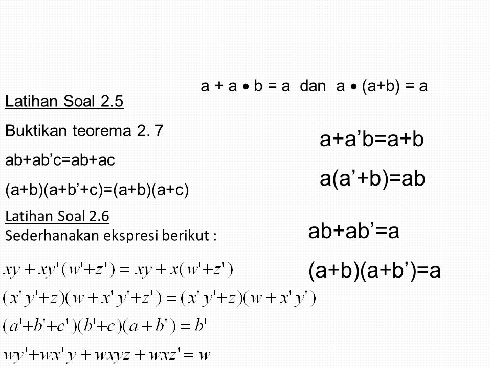 a+a'b=a+b a(a'+b)=ab ab+ab'=a (a+b)(a+b')=a