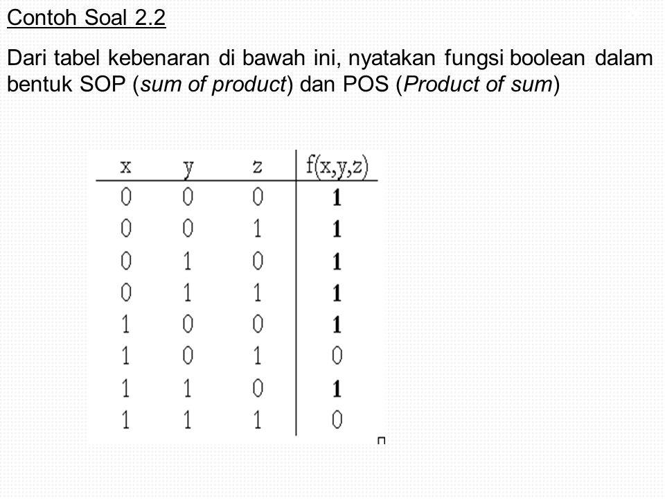Contoh Soal 2.2 Dari tabel kebenaran di bawah ini, nyatakan fungsi boolean dalam bentuk SOP (sum of product) dan POS (Product of sum)
