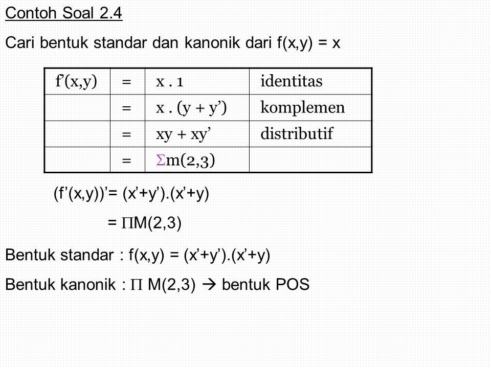 Contoh Soal 2.4 Cari bentuk standar dan kanonik dari f(x,y) = x. f'(x,y) = x . 1. identitas. x . (y + y')
