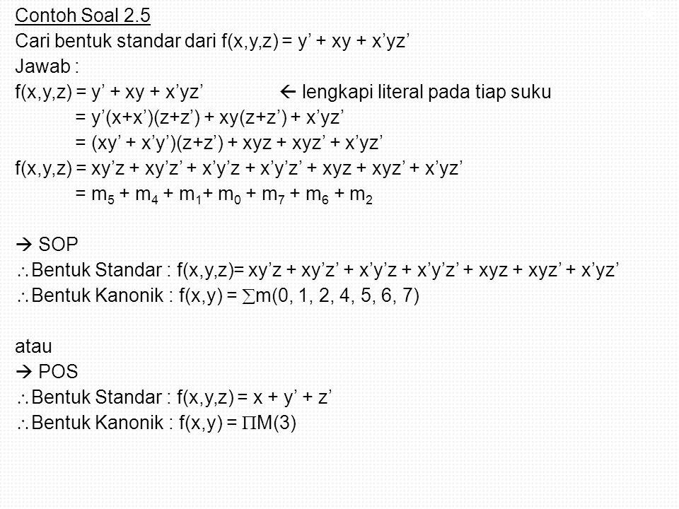 Contoh Soal 2.5 Cari bentuk standar dari f(x,y,z) = y' + xy + x'yz' Jawab : f(x,y,z) = y' + xy + x'yz'  lengkapi literal pada tiap suku = y'(x+x')(z+z') + xy(z+z') + x'yz' = (xy' + x'y')(z+z') + xyz + xyz' + x'yz' f(x,y,z) = xy'z + xy'z' + x'y'z + x'y'z' + xyz + xyz' + x'yz' = m5 + m4 + m1+ m0 + m7 + m6 + m2  SOP Bentuk Standar : f(x,y,z)= xy'z + xy'z' + x'y'z + x'y'z' + xyz + xyz' + x'yz' Bentuk Kanonik : f(x,y) = m(0, 1, 2, 4, 5, 6, 7) atau  POS Bentuk Standar : f(x,y,z) = x + y' + z' Bentuk Kanonik : f(x,y) = M(3)
