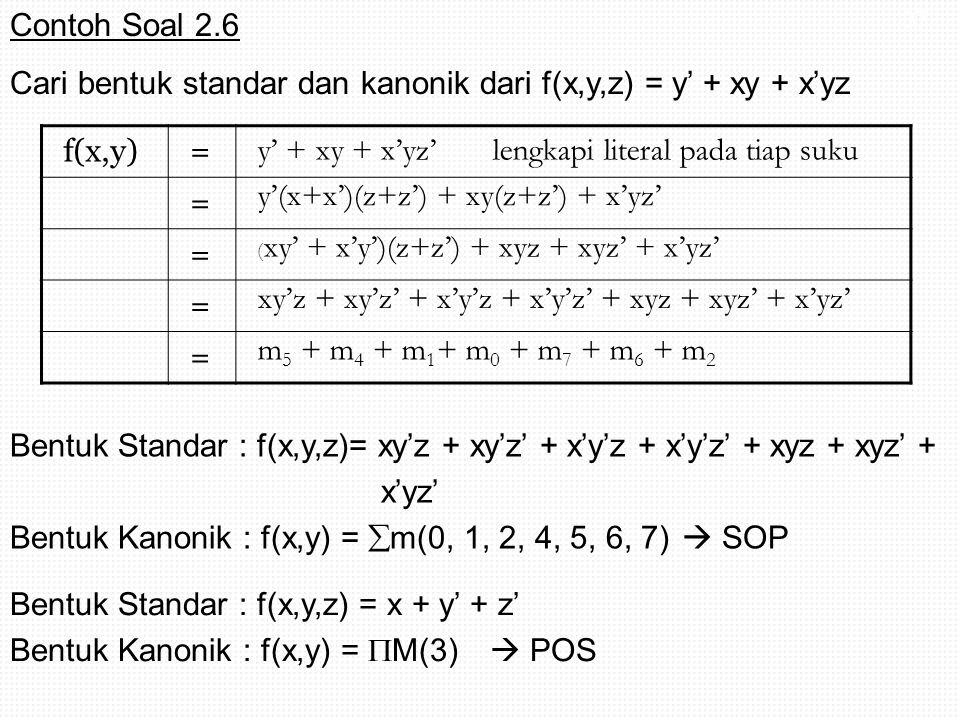 Cari bentuk standar dan kanonik dari f(x,y,z) = y' + xy + x'yz f(x,y)