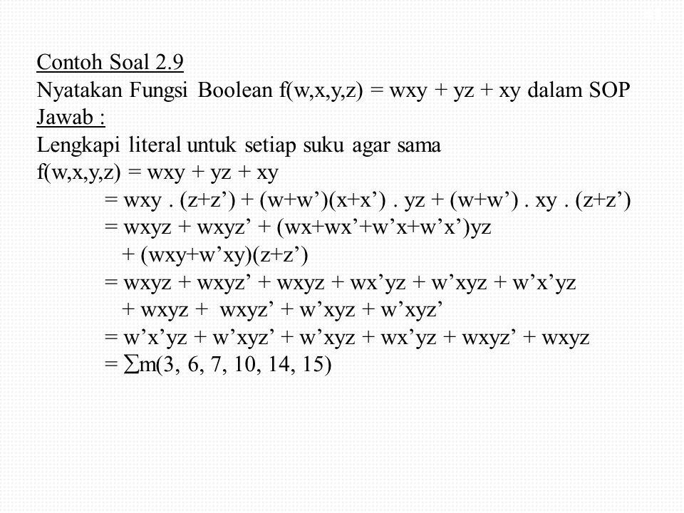 Contoh Soal 2.9 Nyatakan Fungsi Boolean f(w,x,y,z) = wxy + yz + xy dalam SOP Jawab : Lengkapi literal untuk setiap suku agar sama f(w,x,y,z) = wxy + yz + xy = wxy .