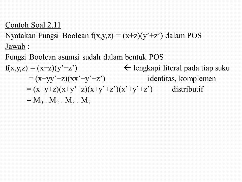 Contoh Soal 2.11 Nyatakan Fungsi Boolean f(x,y,z) = (x+z)(y'+z') dalam POS Jawab : Fungsi Boolean asumsi sudah dalam bentuk POS f(x,y,z) = (x+z)(y'+z')  lengkapi literal pada tiap suku = (x+yy'+z)(xx'+y'+z') identitas, komplemen = (x+y+z)(x+y'+z)(x+y'+z')(x'+y'+z') distributif = M0 .