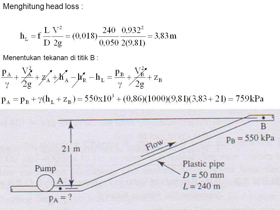 Menghitung head loss : Menentukan tekanan di titik B :
