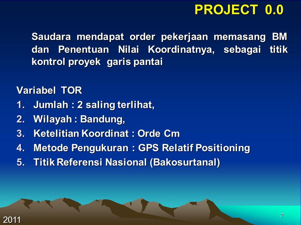 PROJECT 0.0 Saudara mendapat order pekerjaan memasang BM dan Penentuan Nilai Koordinatnya, sebagai titik kontrol proyek garis pantai.