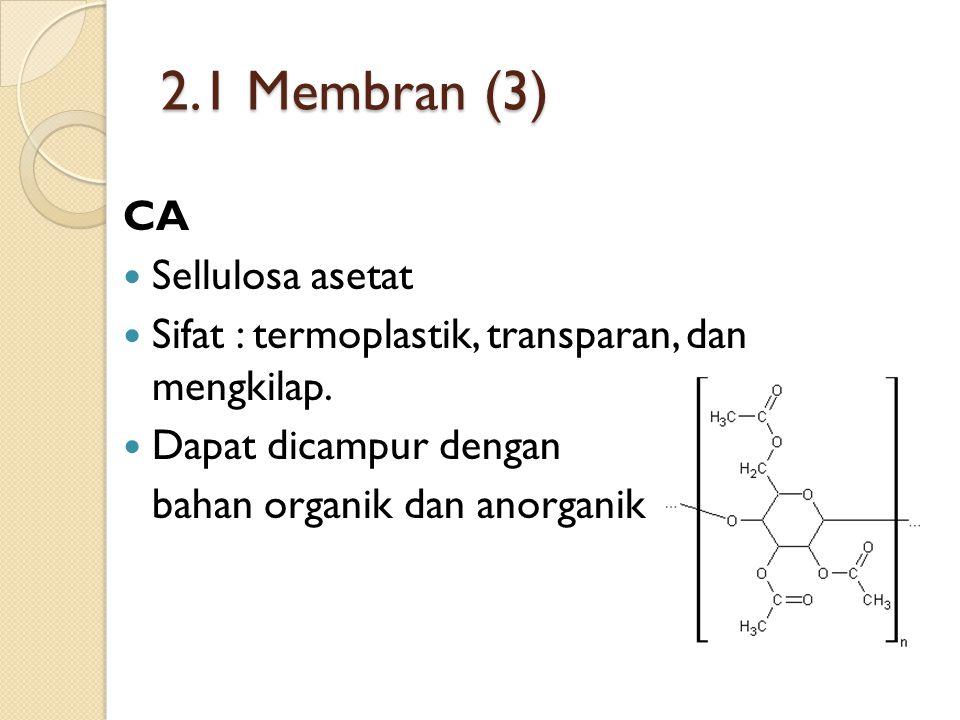 2.1 Membran (3) CA Sellulosa asetat