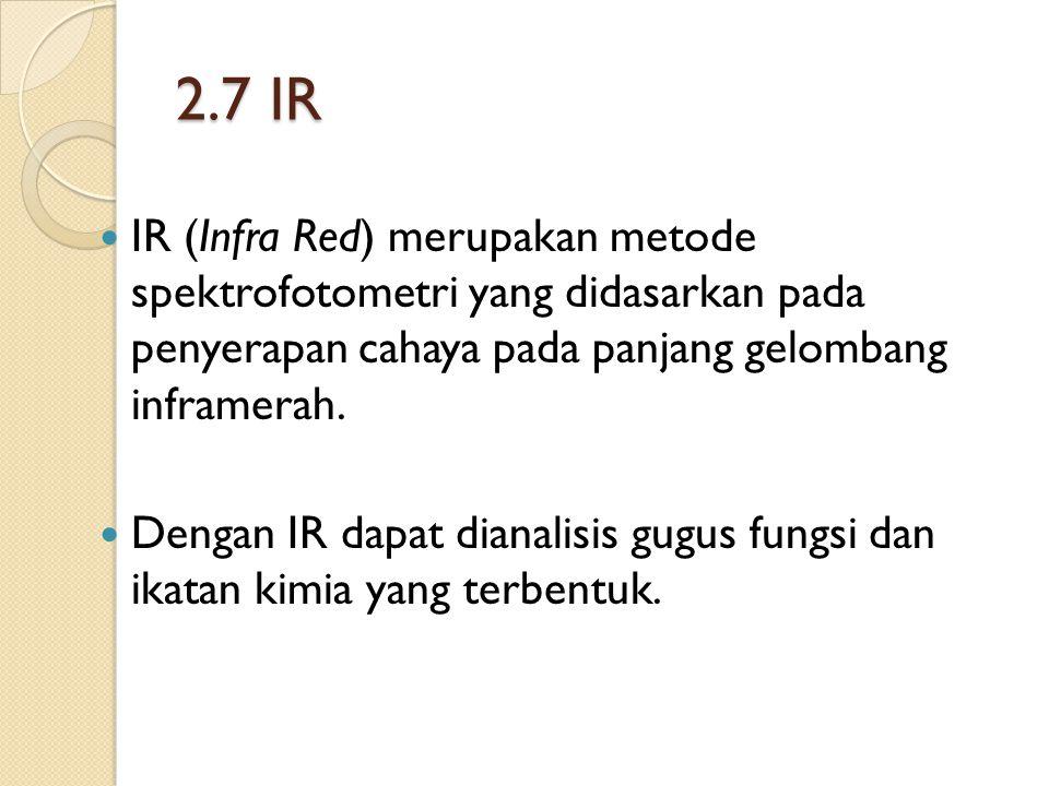 2.7 IR IR (Infra Red) merupakan metode spektrofotometri yang didasarkan pada penyerapan cahaya pada panjang gelombang inframerah.