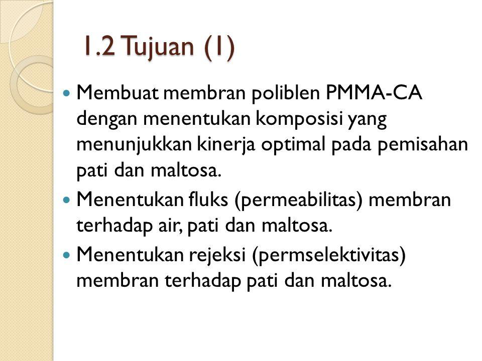 1.2 Tujuan (1) Membuat membran poliblen PMMA-CA dengan menentukan komposisi yang menunjukkan kinerja optimal pada pemisahan pati dan maltosa.