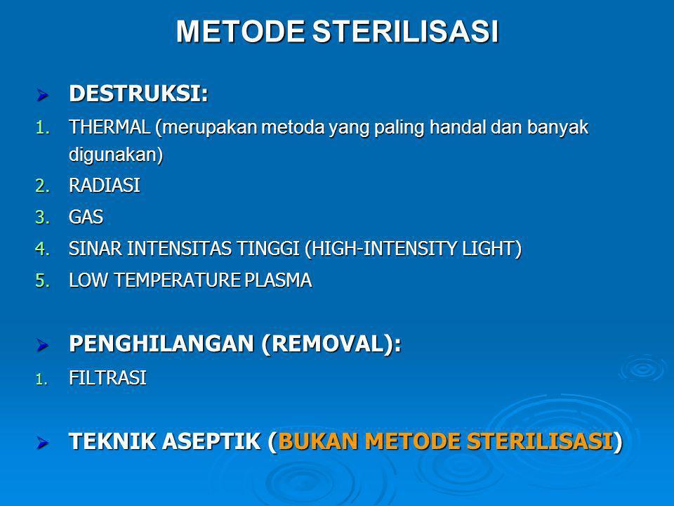 METODE STERILISASI DESTRUKSI: PENGHILANGAN (REMOVAL):