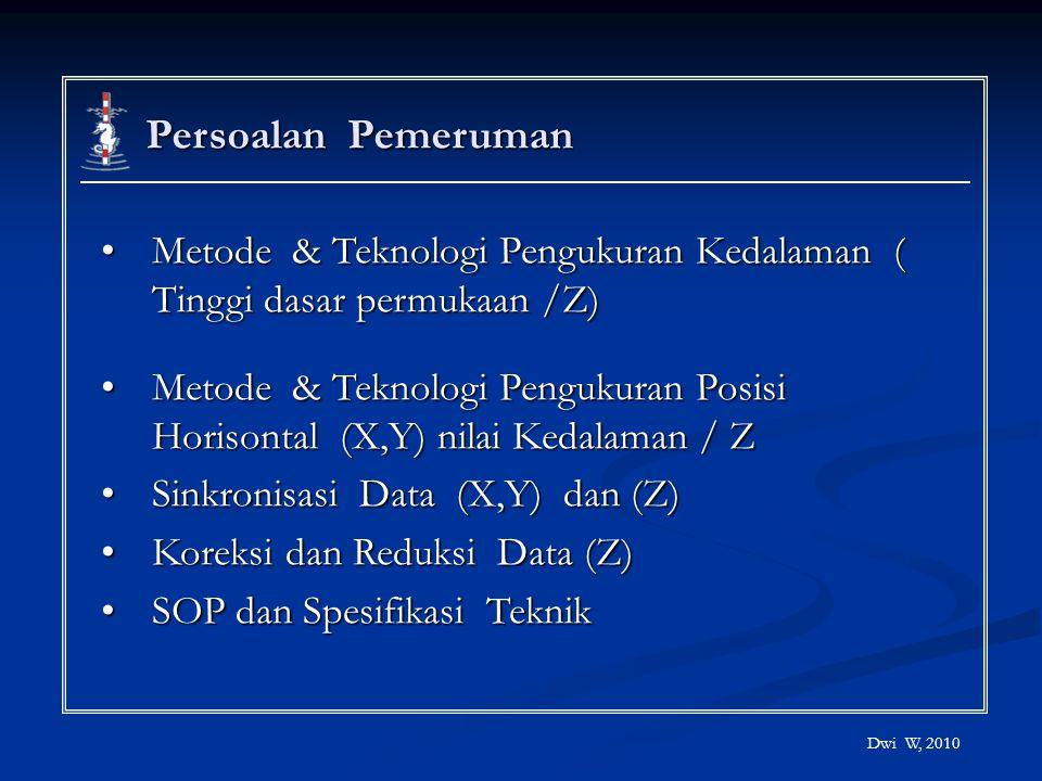 Persoalan Pemeruman Metode & Teknologi Pengukuran Kedalaman ( Tinggi dasar permukaan /Z)