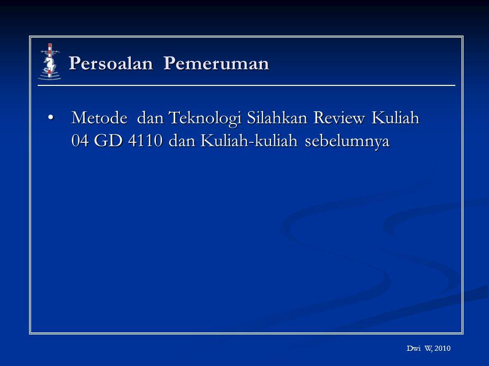 Persoalan Pemeruman Metode dan Teknologi Silahkan Review Kuliah 04 GD 4110 dan Kuliah-kuliah sebelumnya.