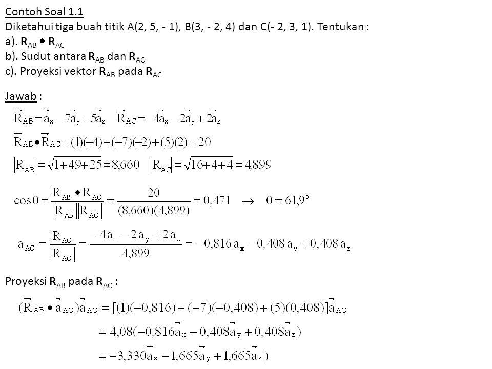 Contoh Soal 1.1 Diketahui tiga buah titik A(2, 5, - 1), B(3, - 2, 4) dan C(- 2, 3, 1). Tentukan : a). RAB  RAC b). Sudut antara RAB dan RAC c). Proyeksi vektor RAB pada RAC