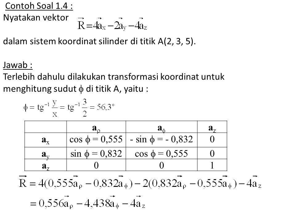 Contoh Soal 1.4 : Nyatakan vektor dalam sistem koordinat silinder di titik A(2, 3, 5). Jawab : Terlebih dahulu dilakukan transformasi koordinat untuk menghitung sudut  di titik A, yaitu :