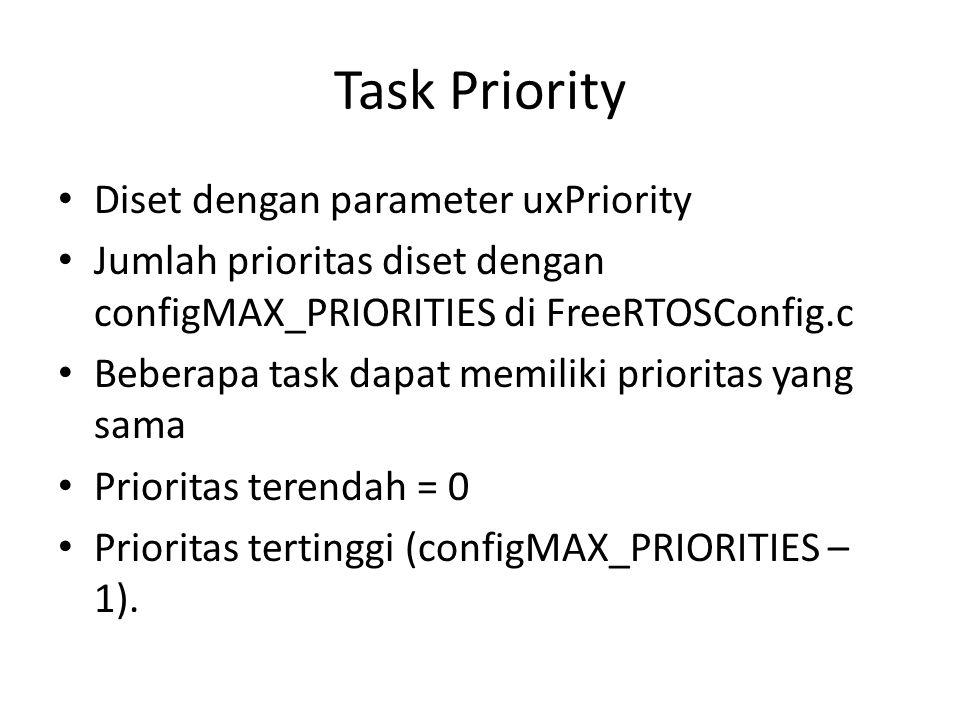Task Priority Diset dengan parameter uxPriority