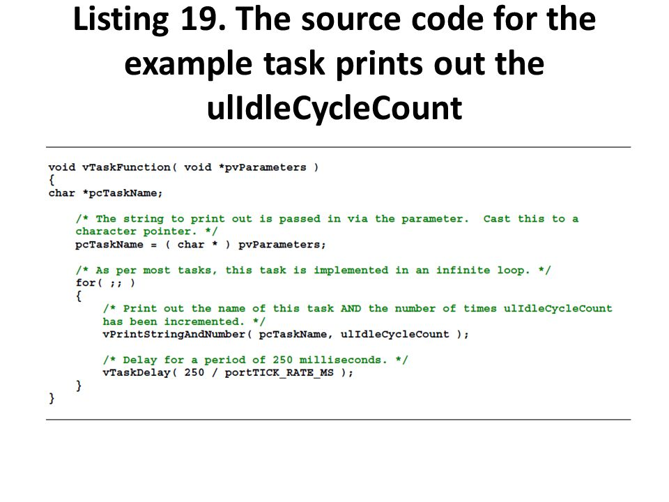 Listing 19. The source code for the example task prints out the ulIdleCycleCount