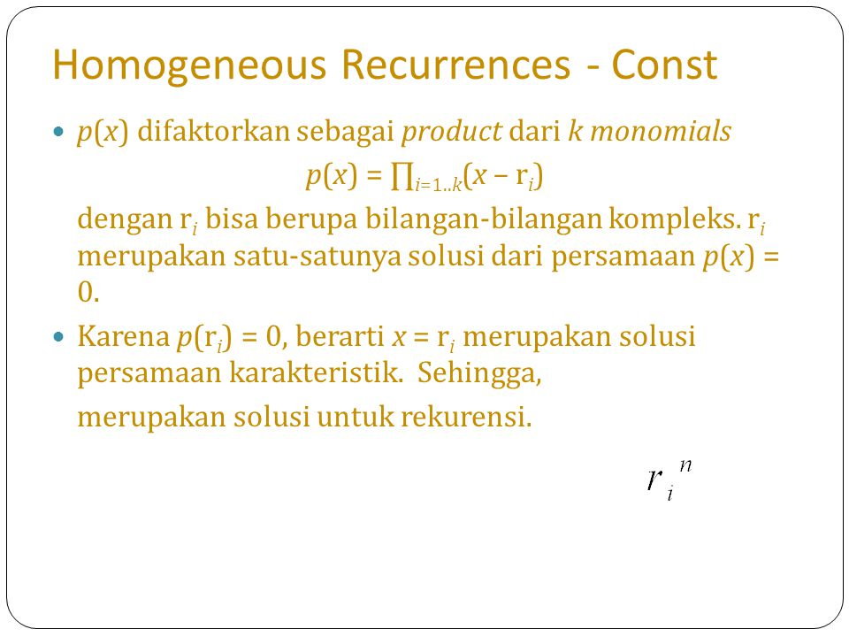 Homogeneous Recurrences - Const