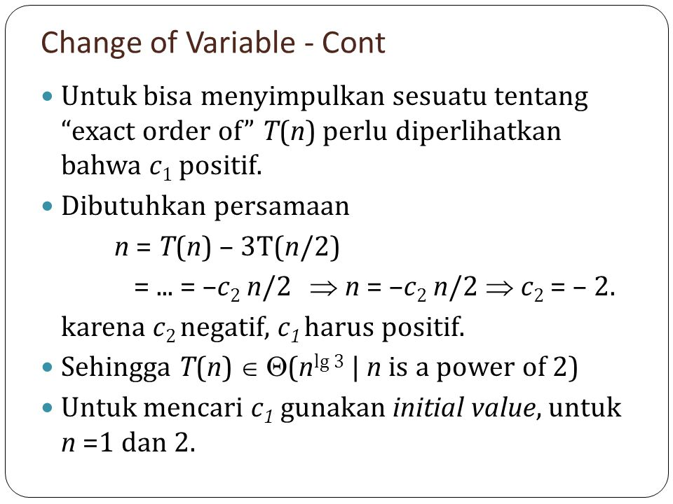 Change of Variable - Cont