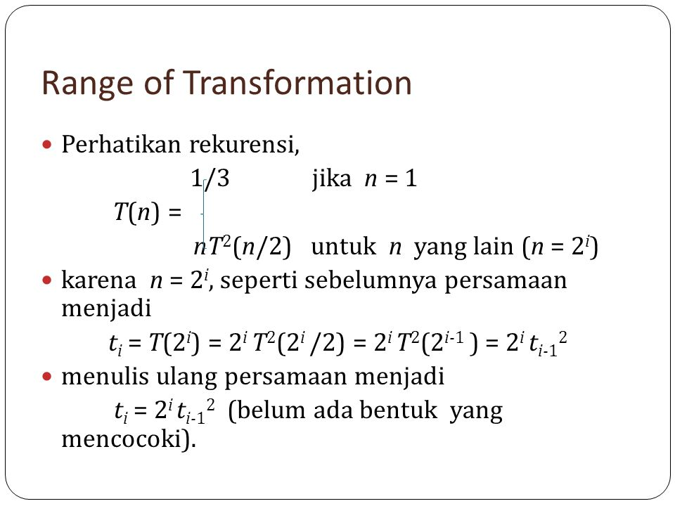 Range of Transformation