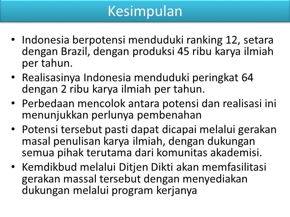 Kesimpulan Indonesia berpotensi menduduki ranking 12, setara dengan Brazil, dengan produksi 45 ribu karya ilmiah per tahun.