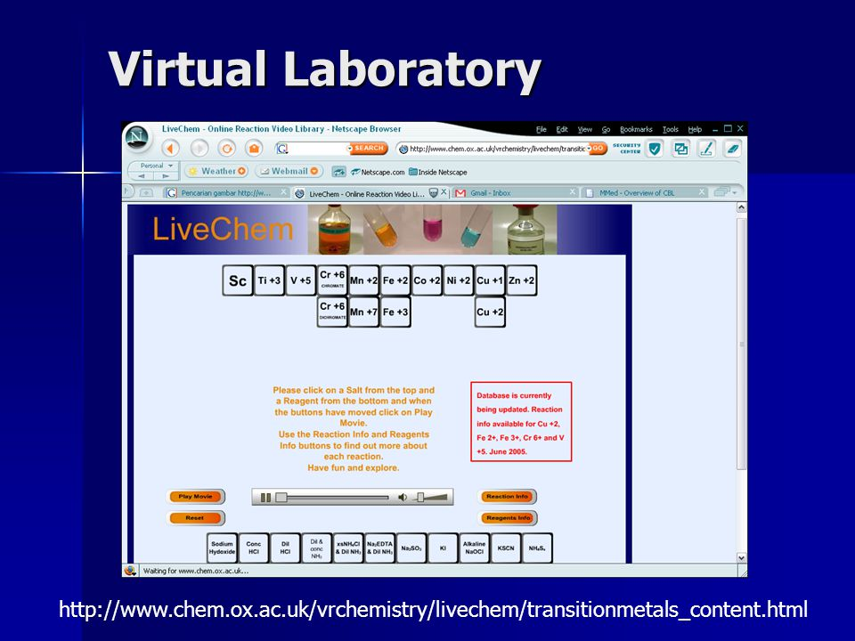Virtual Laboratory http://www.chem.ox.ac.uk/vrchemistry/livechem/transitionmetals_content.html