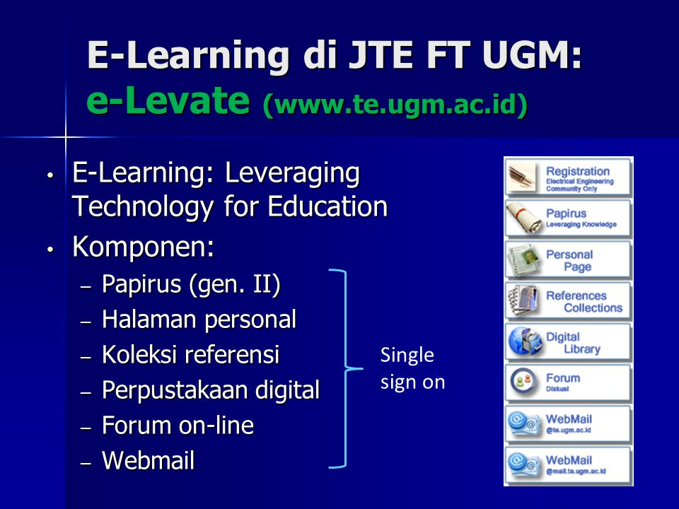 E-Learning di JTE FT UGM: e-Levate (www.te.ugm.ac.id)