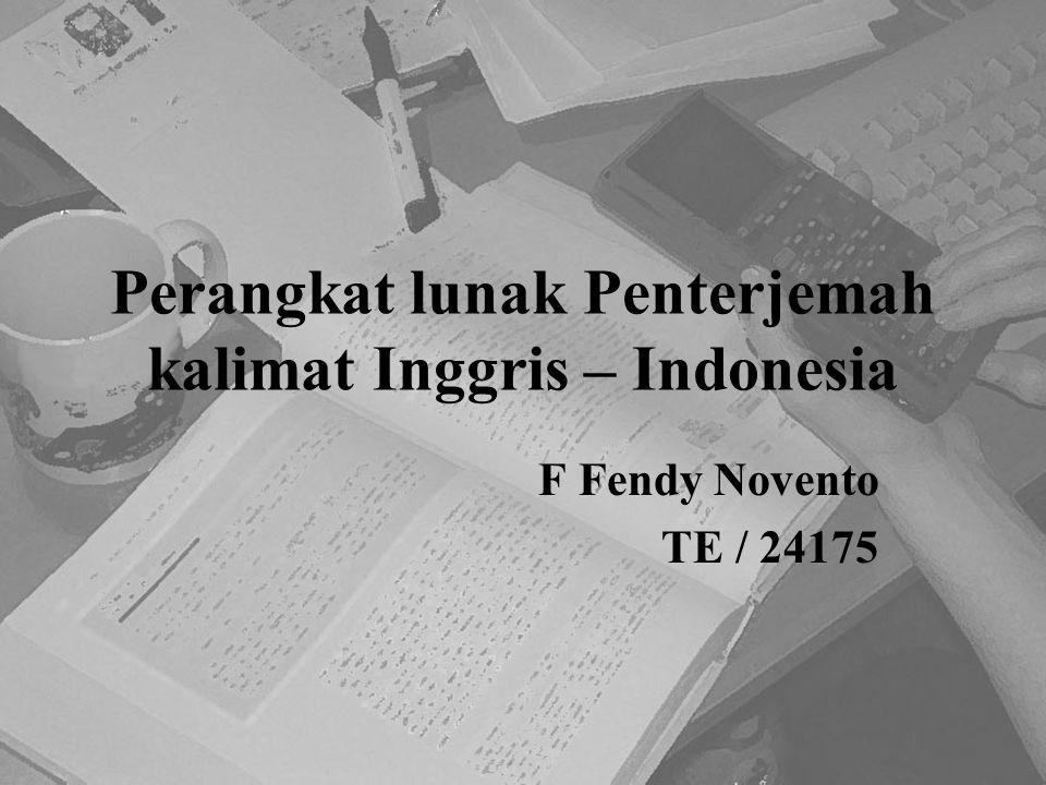 Perangkat lunak Penterjemah kalimat Inggris – Indonesia