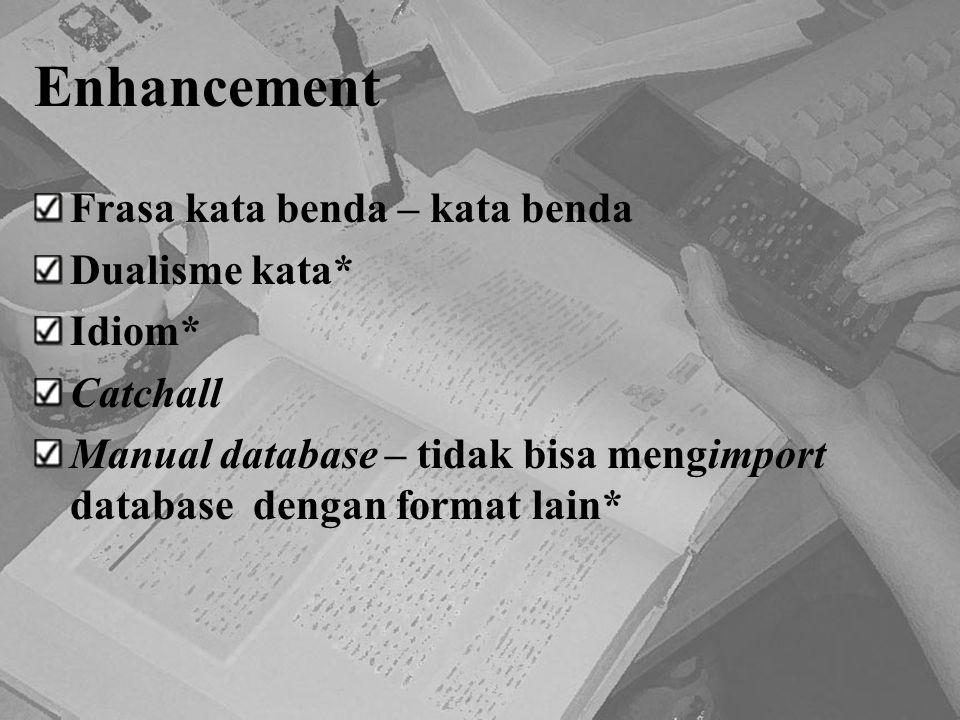 Enhancement Frasa kata benda – kata benda Dualisme kata* Idiom*