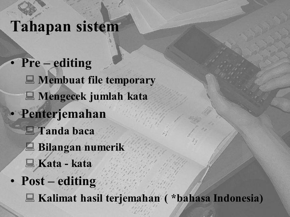Tahapan sistem Pre – editing Penterjemahan Post – editing