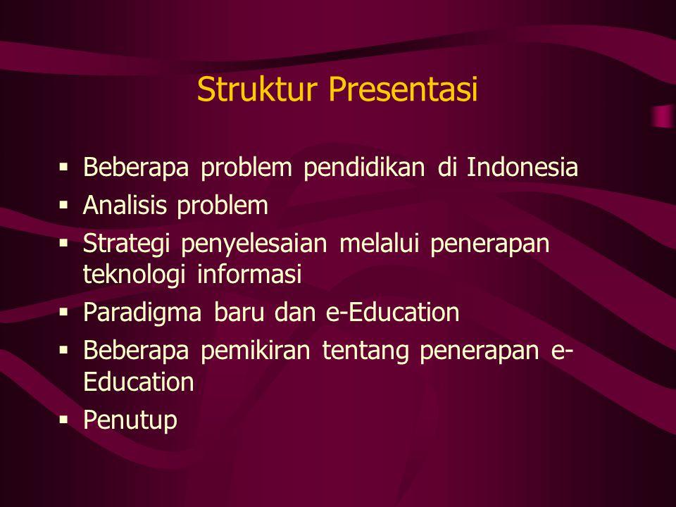 Struktur Presentasi Beberapa problem pendidikan di Indonesia