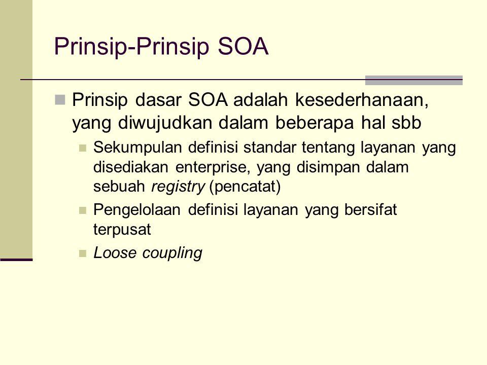 Prinsip-Prinsip SOA Prinsip dasar SOA adalah kesederhanaan, yang diwujudkan dalam beberapa hal sbb.