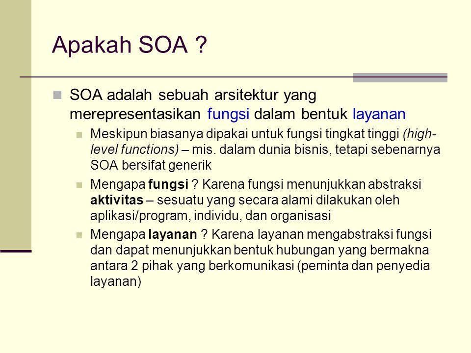 Apakah SOA SOA adalah sebuah arsitektur yang merepresentasikan fungsi dalam bentuk layanan.