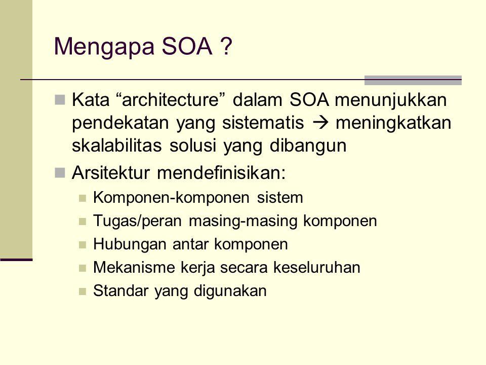 Mengapa SOA Kata architecture dalam SOA menunjukkan pendekatan yang sistematis  meningkatkan skalabilitas solusi yang dibangun.