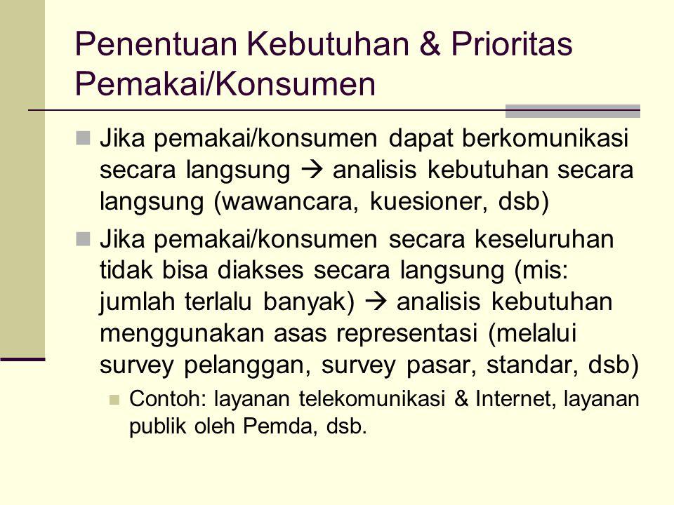Penentuan Kebutuhan & Prioritas Pemakai/Konsumen