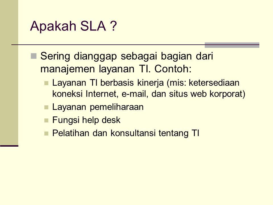 Apakah SLA Sering dianggap sebagai bagian dari manajemen layanan TI. Contoh: