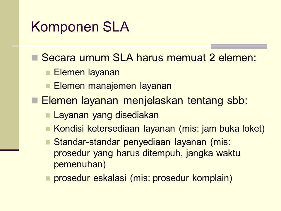 Komponen SLA Secara umum SLA harus memuat 2 elemen: