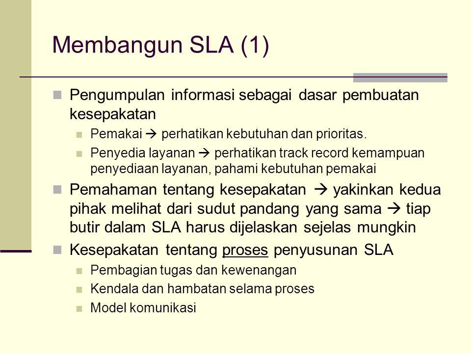 Membangun SLA (1) Pengumpulan informasi sebagai dasar pembuatan kesepakatan. Pemakai  perhatikan kebutuhan dan prioritas.